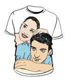 Shirt with couple  illustrations Royalty Free Stock Photo