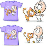 Shirt with Cute Baby and cat - vector Royalty Free Stock Image