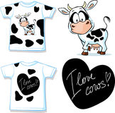 Shirt with cute black and white cow - vector Royalty Free Stock Photo