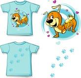 Shirt with Cute Dachshund carries on his back a teddy bear Royalty Free Stock Photos