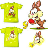 Shirt with cute easter design - bunny an chicken easter Royalty Free Stock Photos