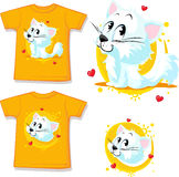 Shirt with cute white cat - vector Stock Photos