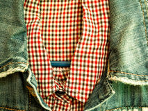 Shirt, denim jacket Stock Image