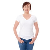 Shirt design and people concept - close up of woman in blank white t-shirt front isolated. Clean empty mock up template. Shirt design and people concept - close stock image