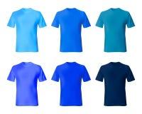 Shirt design template. Set men t shirt navy blue, indigo color. Realistic mockup shirts model male fashion. Shirt design vector template. Set men t shirt navy vector illustration