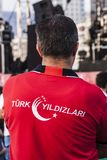 Shirt of the fans of the turkish acrobatic aviation squadron Stock Photos