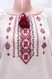 Shirt female national folklore, a folk costume Ukraine,  on gray white background Royalty Free Stock Photos