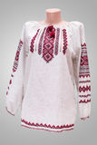 Shirt female national folklore, a folk costume Ukraine, isolated on gray white background Stock Image