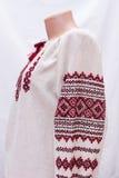Shirt female national folklore, a folk costume Ukraine, isolated on gray white background Stock Photos