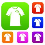 Shirt with flag of Brazil sign set color collection Stock Image