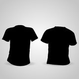 Shirt front and back in black on a gray background Stock Photos