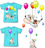 Shirt with funny printed cow flying with balloon Royalty Free Stock Photos