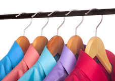Shirt on a hanger. On a white background Royalty Free Stock Photography