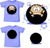 Shirt huddled with hedgehog - vector Stock Image