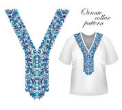 Shirt, jacket and T-shirt collar pattern. Embriodery ornament. Vector. Royalty Free Stock Photo