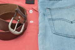 Shirt and jean with belt leater Stock Image