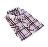 Shirt, man's cotton plaid shirt on background. Stock Photo