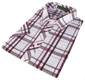 Shirt, man's cotton plaid shirt on background. Royalty Free Stock Image