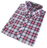 Shirt, man's cotton plaid shirt on background. Stock Photo