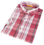 Shirt, man's cotton plaid shirt on background. Stock Image