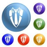 Shirt necktie icons set vector vector illustration