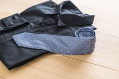 Shirt with necktie. Selective focus point Royalty Free Stock Image