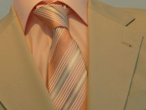 Shirt - necktie - suit. Orange shirt with striped necktie & business suit Royalty Free Stock Photos