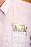 Shirt with one hundred dollar banknotes Royalty Free Stock Images