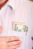 Shirt with one hundred dollar banknotes Stock Photo
