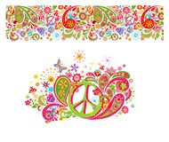 Shirt print with hippie peace symbol with colorful flowers, fly agaric, paisley and seamless pattern. Shirt print on white background with hippie peace symbol vector illustration