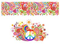 Shirt print with hippie peace symbol with vintage colorful flowers pattern, seamless border and rainbow. Shirt print with hippie peace symbol with vintage stock illustration