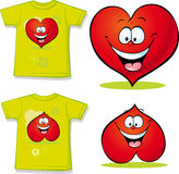 Shirt with red heart cartoon Stock Photography