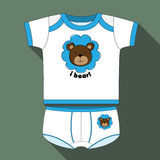 Shirt and shorts for boys with bear print and written in English. Royalty Free Stock Photo