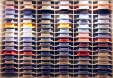 Shirt showcase. Showcase with many colorful shirts on shelfs Stock Image