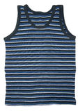 Shirt sleeveless. Front view of blue striped sleeveless sports shirt isolated on white background. Clipping path included Royalty Free Stock Photo
