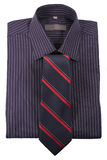 Shirt in strip  with  tie. In red strip isolated on white backround Stock Photography