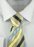 Shirt with striped silk necktie Stock Photo