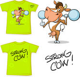 Shirt with strong cow - vector illustration Royalty Free Stock Photos