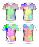 T-shirt templates abstract geometric collection of different colors polygonal mosaic. Shirt, t, template, back, vector, front, design, white, t-shirt, fashion royalty free illustration