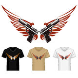 Shirt Template with Guns and Wings Royalty Free Stock Images