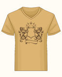 Shirt template with heraldry coat of fame Stock Photography
