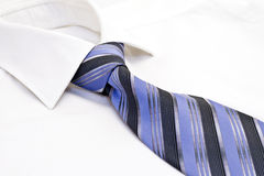 Shirt and tie. White male shirt, blue tie Royalty Free Stock Image