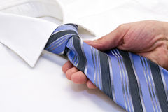 Shirt and tie. White male shirt, blue tie Stock Photo