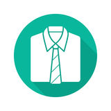 Shirt and tie flat design long shadow icon Stock Images