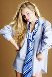 Shirt and tie girl. Girl wearing in shirt and tie Stock Photo