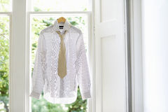 Shirt And Tie On Hanger At Home Royalty Free Stock Images