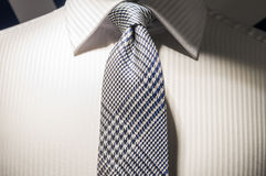 Shirt and Tie. Smart and Clean White Business Shirt with Silver Grey Neck Tie Royalty Free Stock Photos