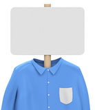 Shirt and whiteboard. 3d generated picture of a blue shirt and a blank whiteboard vector illustration