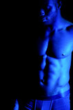 Shirtless african muscular man Stock Photos