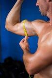 Shirtless athlete measuring biceps in gym Royalty Free Stock Images